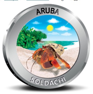 "38 mm, 25 g, .925 fine silver Aruba 5 florin proof. The colored reverse shows ""Soldachi,"" the tiny hermit crab known as (Coenobita clypeatus) by its scientific pals. Mintage was 750."