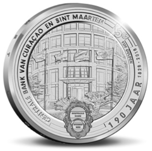 A 29 mm, 11.9 g, .925 fine silver 5 guilder proof marking 190 years of the Central bank of Curaçao and Sint Maarten. Mintage was 550.