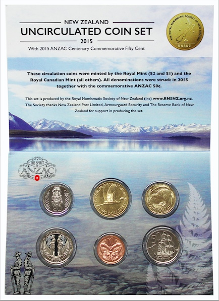 The RNSNZ 2015 NZ Uncirculated Set of circulating coins